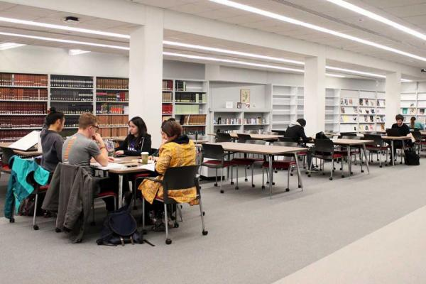 Students studying in Fine Arts Library