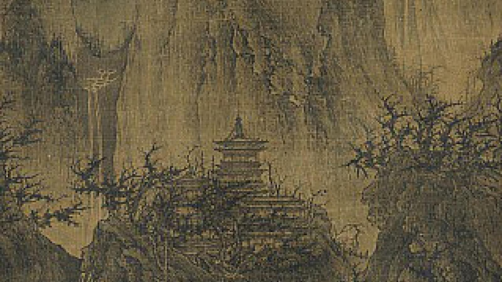 Li Cheng; A Solitary Temple Amid Clearing Peaks