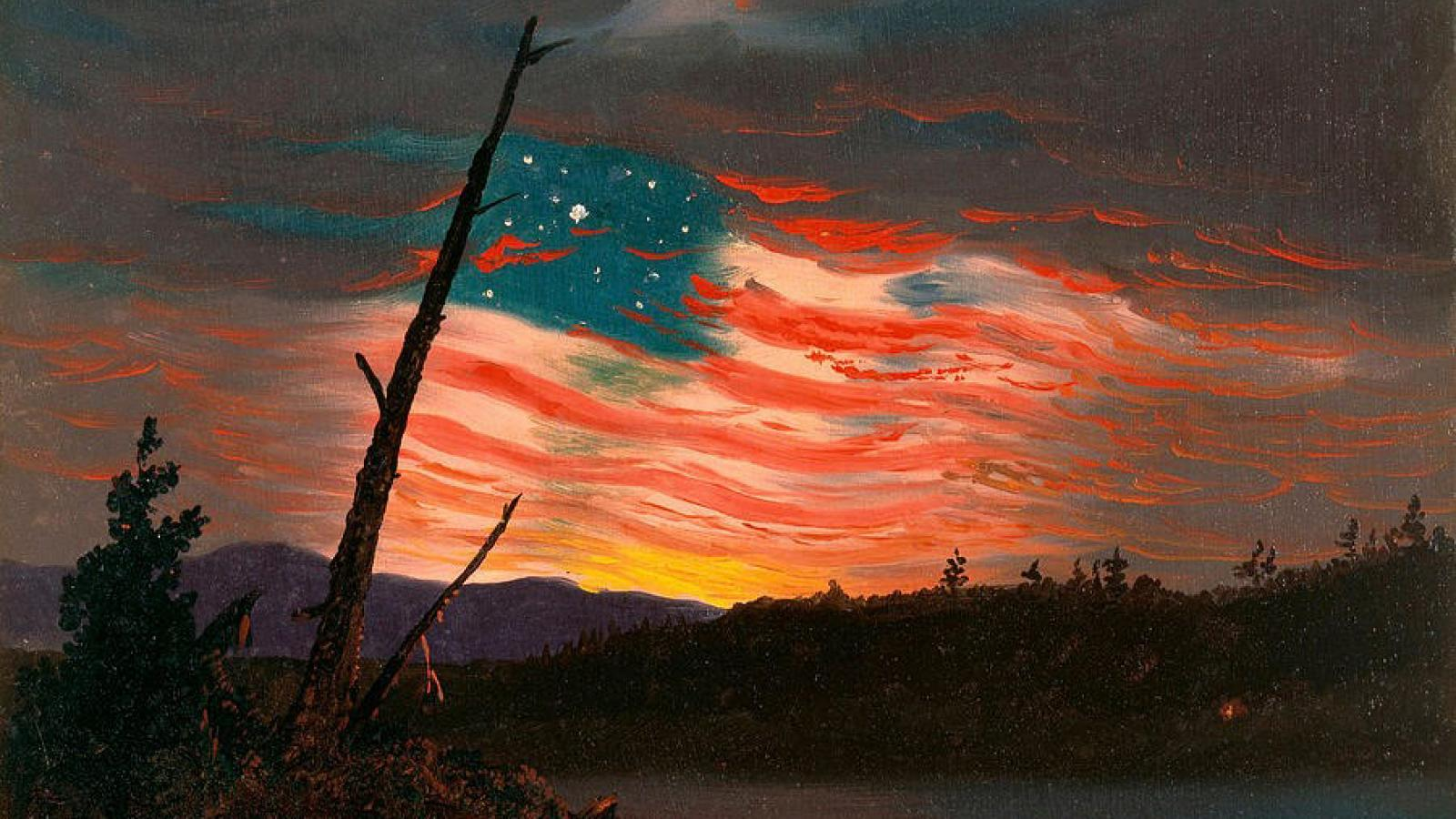 painting of an american flag
