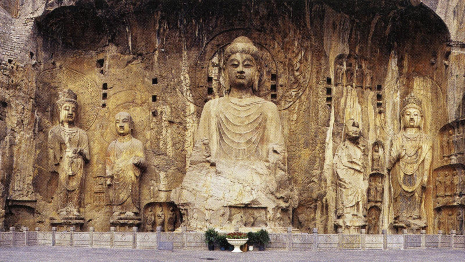 Tang dynasty, 660-676. Limestone, height 56' (17m). Fengxian Temple, Cave 19, Longmen Grottoes, Luoyang, Henan province.