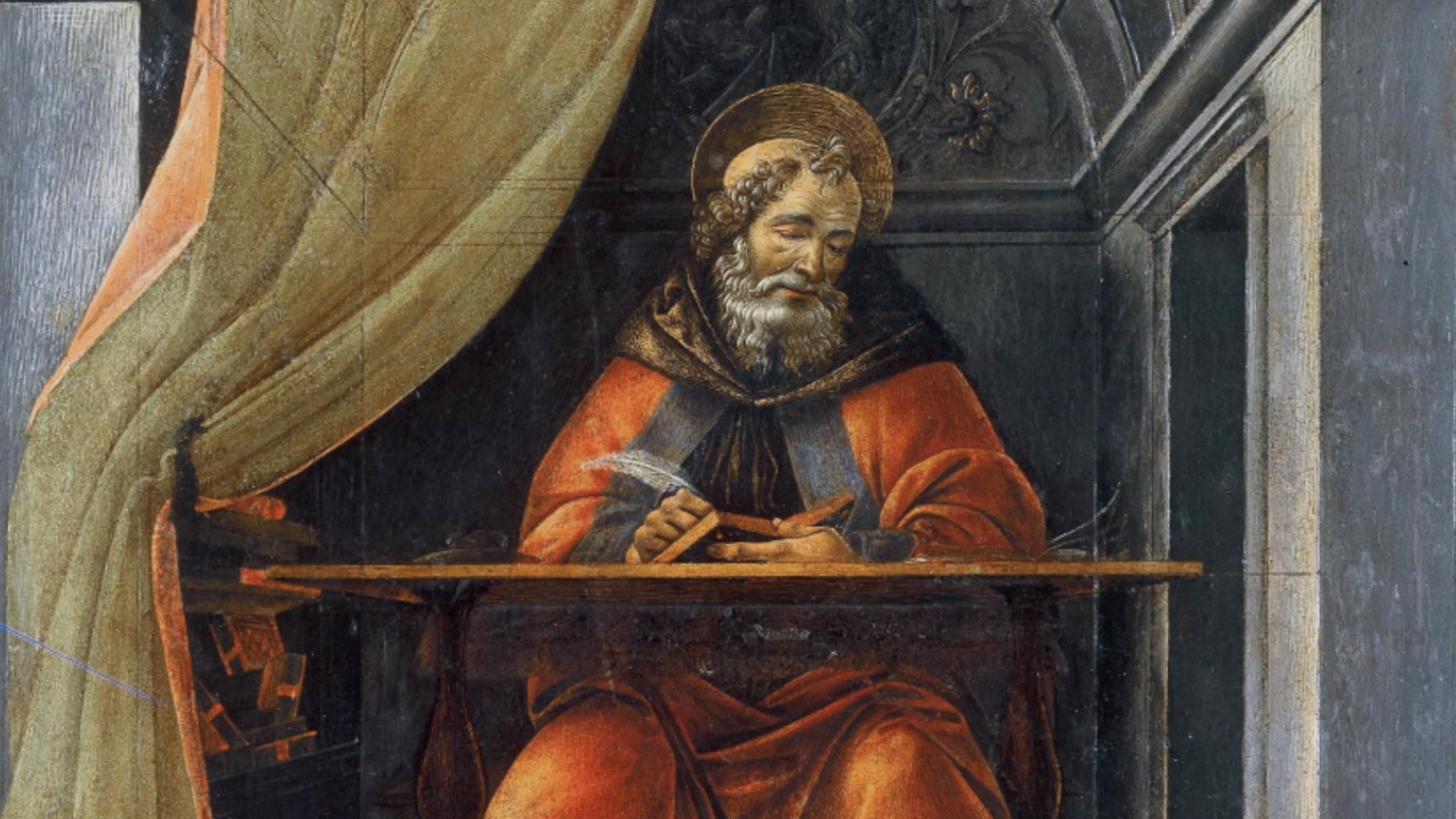 painting of man writing at desk
